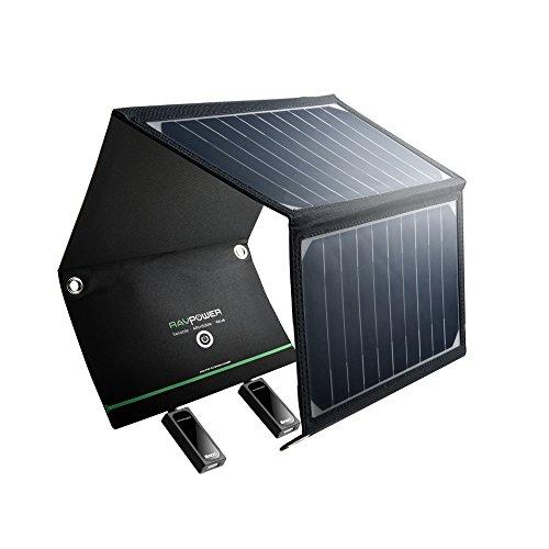 RAVPOWER Cargador Panel Solar 16W (Dual USB Puertos, Inteligente IC, A Prueba De Agua, En Acero Inoxidable) Placa Batería Plegable para Móviles, Tablets y Otros Dispositivos