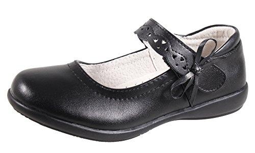 QHamThim Girls Leather Oxford Black School Uniform Outdoor Dress Mary Jane Shoe(Toddler/Little Kid/Big Kid) US Size 3.5 Black