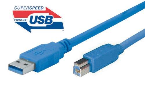 Tecline 1.8m USB A–USB B 1.8m USB A USB B blau Kabel USB–Kabel USB (1,8m, 3.0(3.1Gen 1), USB A, USB B, männlich/männlich, Blau)