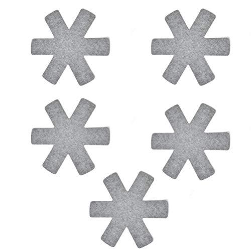 QLOUNI 5 Stück Stapelschutz für 38-39 cm Pfannen, Töpfe und Schüsseln aus Filz, Pfannenschutz, Topfschutz