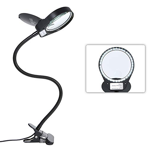 Tomshine Dimmable LED Lighted Magnifying Glass Lamp Metal Clamp 3X/10X Full Spectrum Daylight Desk Magnifier with Light Hands Free for Table Reading Close Work Bench Task Craft