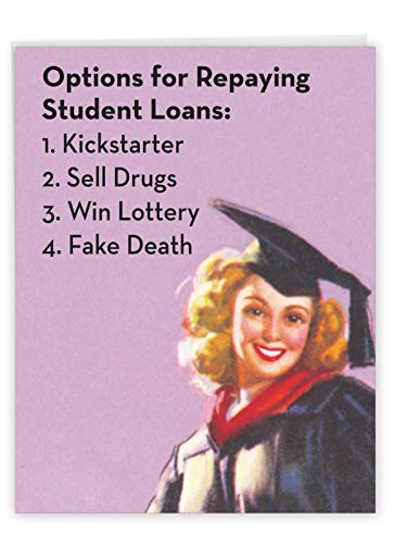 The Best Card Company - Big Graduation Greeting Card (8.5 x 11 Inch) - Congrats Card for Graduates, School Kids - Student Loan Options J3577GDG