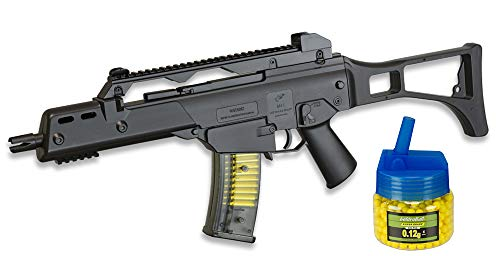 Tiendas LGP - Subfusil M41 Tipo G36, Arma Airsoft, Aire Suave Double Eagle, Potencia 0,5 Julios, Airsoft Replica, Munición Bolas PVC 6 mm. + Biberón 500 Bolas 12 Gramos de 6 mm. de Regalo