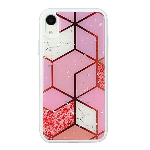 HengJun - Funda de mármol para iPhone XR, Delgada, Delgada, para teléfono, para niñas, Mujeres, antiarañazos, Suave al Tacto, Flexible, TPU + PC-Cuadrícula Rosa