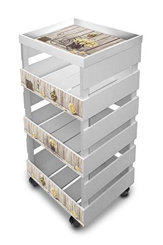 Carrello da cucina multiuso con vassoio TROLLEY BOX + TRAY 30X40cm H.85 WHITE YELLOW ROSES