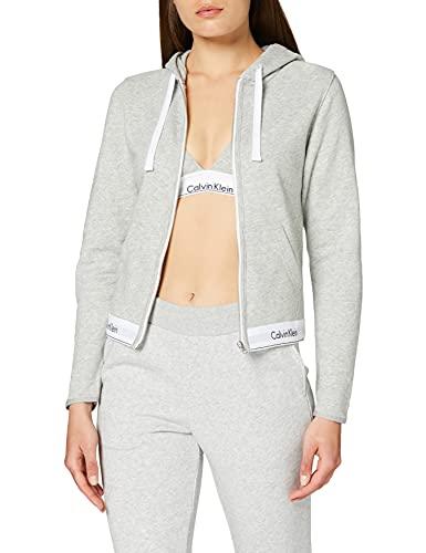 Calvin Klein Damen TOP Hoodie Full Zip Kapuzenpullover, Grau (Grey Heather 020), 36 EU (Herstellergröße: S)