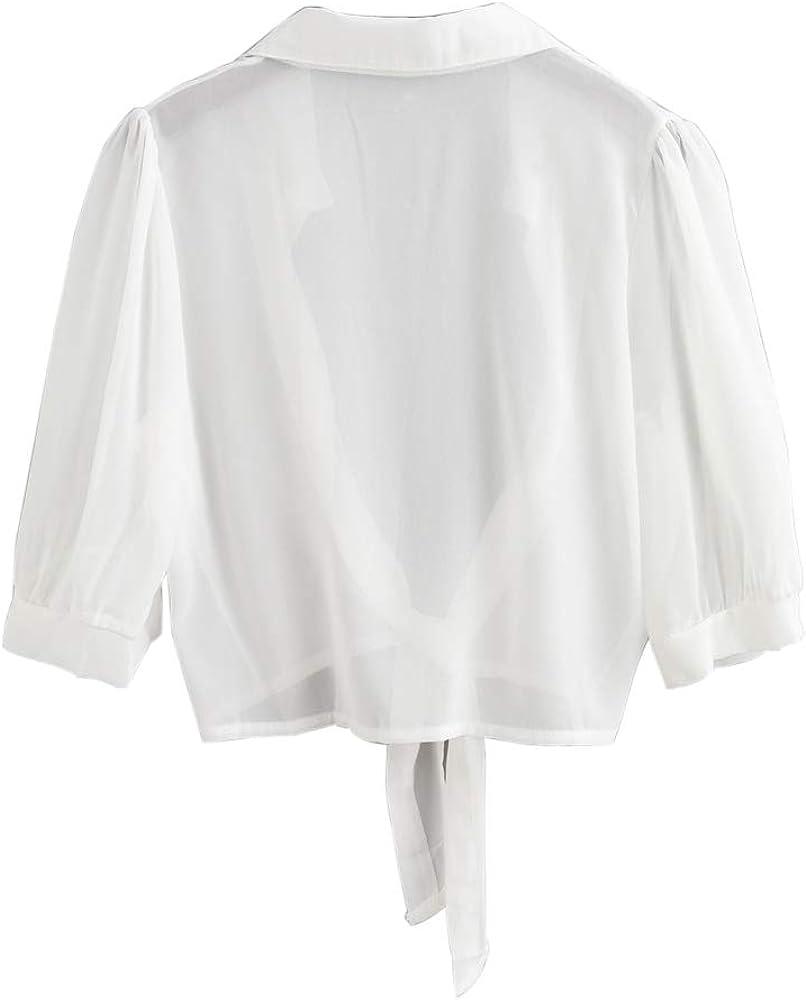 ZAFUL Womens Tie Hem Crop Top Cover Up Semi Sheer Shrug Blouse