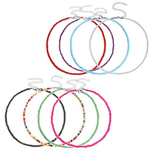 Myya 8 Uds Bohemia Seed Bead 15 Pulgadas Kit de gargantillas Cortas Colorido pequeño Collar de Perlas Kit de Collar para Mujer joyería de Moda