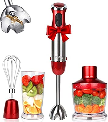 KOIOS 800W 4-in-1 Multifunctional Hand Immersion Blender, 12 Speed, 304 Stainless Steel Stick Blender, Titanium Plated Blade, 600ml Mixing Beaker, 500ml Food Processor, Whisk Attachment, BPA-Free, Red from KOIOS