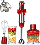 KOIOS 800W 4-in-1 Multifunctional Immersion Hand Blender, 12 Speed, 304 Stainless Steel Stick Blender, Titanium Plated Blade, 600ml Mixing Beaker, 500ml Food Processor, Whisk Attachment, BPA-Free, Red