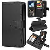 TILL for LG G6 Case, TILL LG G6 [PU Leather] Flip Wallet Case [Cash & Card Slot Holder] [Kickstand] Detachable Magnetic Folio Protective Case Cover [Black]