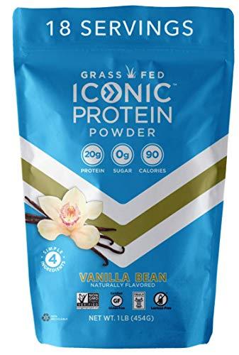 Iconic Protein Powder, Vanilla Bean, 1 Lb (18 Servings) | Sugar Free, Low Carb Protein Shake | 20g Grass Fed Whey Protein & Casein Protein | Lactose Free, Gluten Free, Kosher, Non-GMO | Keto Friendly
