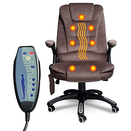 windaze Massage Office Chair, High Back Office Desk Chair Fabric Executive Chairs, Heated Ergonomic Office Computer Gaming Chair, Adjustable Recliner Swivel Managerial Chair with Lumbar Support, Brown
