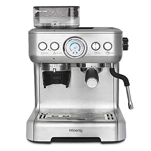 H.Koenig Macchina per espresso con trituratore EXPRO980, 2,7 l, 250 g serbatoio grani, 15 misure di macinatura, pompa italiana, dosaggio personalizzabile per 1 o 2 tazze, Thermoblock, pressione 20 bar