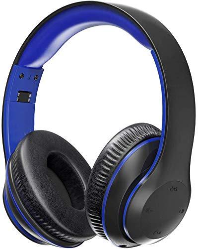 Bluetooth Kopfhörer Over Ear Headset mit leichtem Rückstellschaum Ohrpolster & Dual 40mm Treiber, 15 Stunden Spielzeit, EQ Bass, 3,5 mm AUX, On-Ear Steuerung Blau