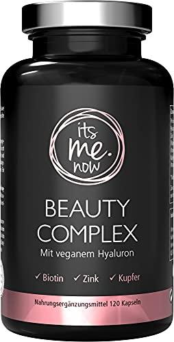 itsme.now® Beauty Complex Hyaluronsäure Kapseln hochdosiert vegan 120Stk Vitamin Kapseln für Haare Nägel Haut Bindegewebe & Gelenke I mit Biotin Panthothensäure Zink & Kupfer I deutsche Qualität