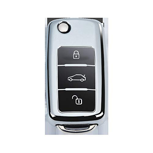 YJLOVK Nuevo TPU Car Key Shell Holder Remote Key Case Cover Apto para Volkswagen VW B5 B6 Golf 4 5 6 Jetta Mk6 Tiguan Llavero Llavero, Estuche Plateado