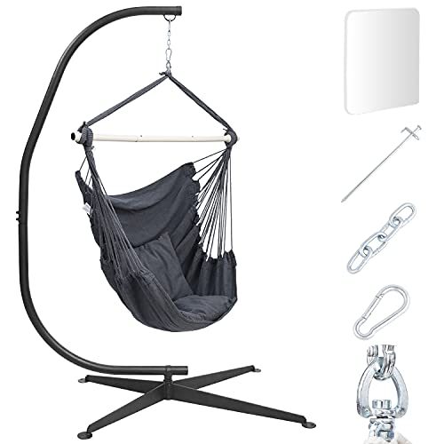 Hammock Chair with Stand Included, ALL-IN-ONE Heavy Duty Steel C Stand with Hanging Swing Chairs & Cushions, Floor Pads & Ground Nails for Indoor Room Patio Yard Porch Balcony Terrace, 330 Lb Capacity
