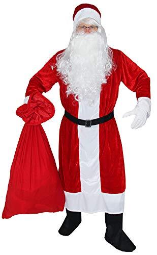 Foxxeo 6-teiliges Premium Weihnachtsmann Kostüm mit Mantel für Herren - Größe M-XXXXL, Größe:XXXL/XXXXL