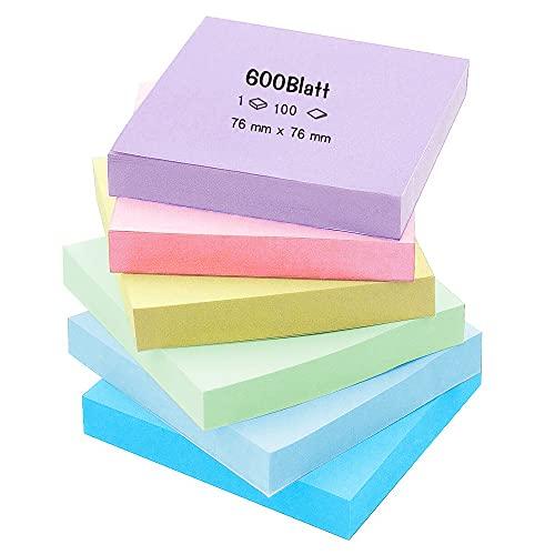 Foglietti Adesivi, KANOSON 6 Colori Blocchetti Memo Adesivi,600 Fogli,75 x 75 mm, Removibili Blocchetto per per Ufficio Scuola Casa