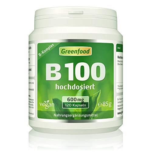 B-Komplex 100, extra hochdosiert, 120 Kapseln – alle Vitamine der B-Gruppe. OHNE künstliche Zusätze. Ohne Gentechnik. Glutenfrei. Lactosefrei. Vegan.