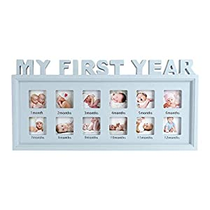 My First Year Picture Frames Baby Moments Keepsake Photo Frame Newborn Infant Collage Frame Boys Girls Shower Gift Wall Hanging 12 Month Frame for Room Wall Nursery Décor Elegant White Natural Wood
