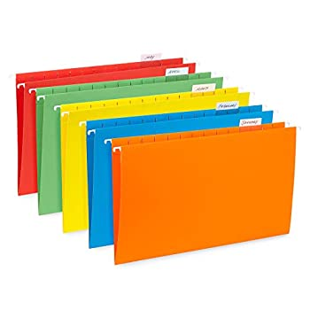Blue Summit Supplies Hanging File Folders 25 Reinforced Hang Folders Designed for Home and Office Color Coded File Organization Legal Size Assorted Colors 25 Pack