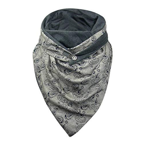 Hetangyuese - Bufanda de invierno para mujer, triángulo grande, elegante, con impresión de estrellas, con botón, para otoño e invierno, bufanda cálida de triángulo T Talla única