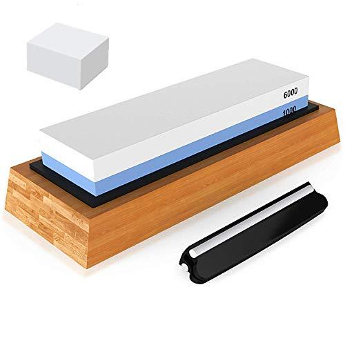 Austings Schleifstein, 1000/6000-Körnung Messerschärfstein-Set 2-in-1-Doppelkörnung, mit Rutschfester Basis und Winkelführung, für Küche, Holzarbeiten, im Freien usw