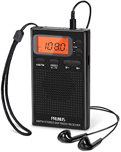 Portable AM FM Pocket Radio with Earphones Digital Battery Operated Walkman Radio with Preset product image