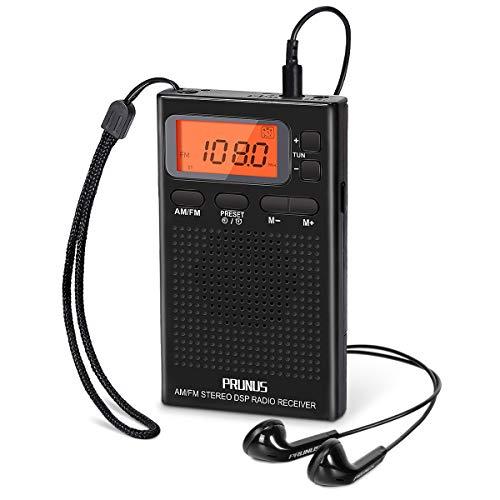 PRUNUS J-125 Radio Portatil Pequeña Digital con Auriculares,Radio Bolsillo Am FM con Preajuste Temporizador Reloj Despertador,Funciona con 2 Pilas AAA,Estación de Bloqueo,para Trotar,Caminar,Viajar