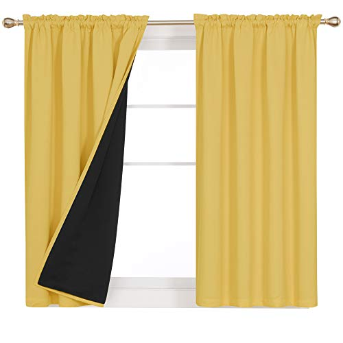 Deconovo 100% Blackout Curtain Panels with Total Block Out Liner Noise Cold Heat Reducing Thermal Insulated Window Drapes Full Sunlight Blocking Curtain Drapes for Home 2 Pieces 52x63 Inch Yolk Yellow
