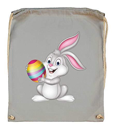 Druckerlebnis24 Turnbeutel - Osterhase Cartoon Ei Kaninchen - Stoffbeutel aus Bio Baumwolle