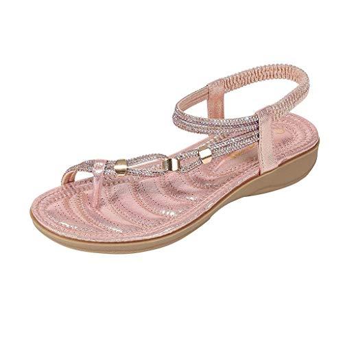 DFMNE Sandalen für Frauen Mädchen Damen Frühling Sommer Bohemia Kristall Strand Flops Flip Casual Fashion 2019, Pink - Rose - Größe: 37 EU