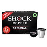 Shock Coffee Single Serve Cups. Up to 50% more Caffeine than Regular Coffee. 12 count - Compatible with Keurig K-Cup Brewers 2.0