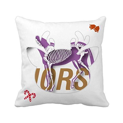 OFFbb-USA - Funda cuadrada para cojín de Navidad, diseño de esqueleto de caballo