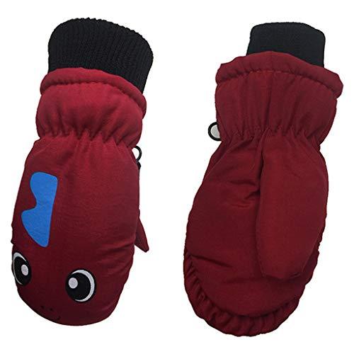 liaobeiotry Kleinkinder Kleinkinder Kinder Winter dick gefüttert warm Handschuhe Cartoon Dinosaurier bedruckt wasserdicht winddicht elastisch Manschette Fäustlinge 3–5 Jahre, rot