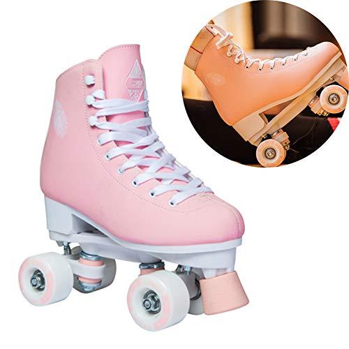 Pinkskattings@ Classic Adult Rollschuhe Unisex Für Kinder 4-Rad Rollschuhe Disco-Roller, Mode Zweireihige Rollerblades,Rosa,40