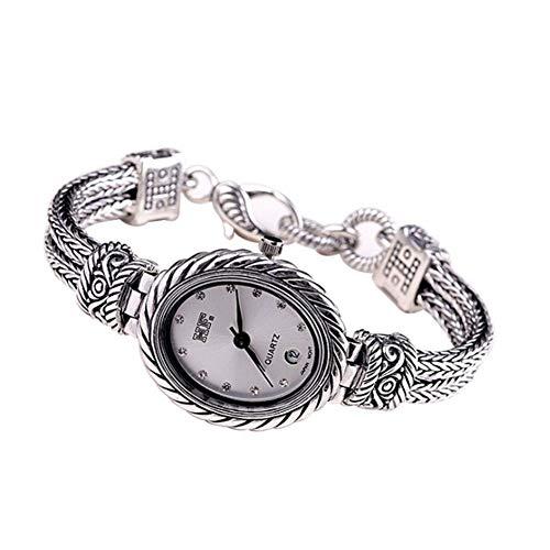 Jade Angel Reloj de pulsera para mujer de plata de ley 925 con cadena de trigo