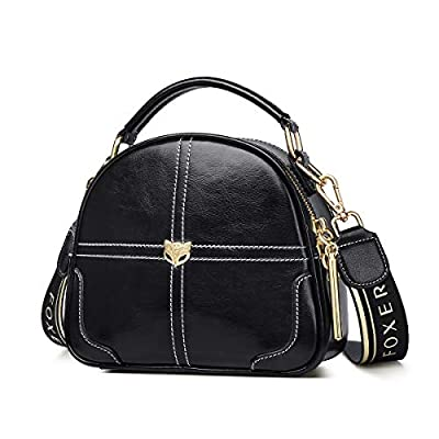 Small Leather Handbags for Women, Genuine Leather Ladies Mini Top-handle Zipper Bags with 2 Type Adjustable Shoulder Strap Women's Fashion Messenger Chain Bags Girls Casual Compact Satchel (Black)