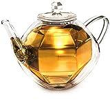 Creano'Diamond-Design', doppelwandige Glas-Teekanne mit Thermo Effekt inkl. Spiralsieb | 800ml