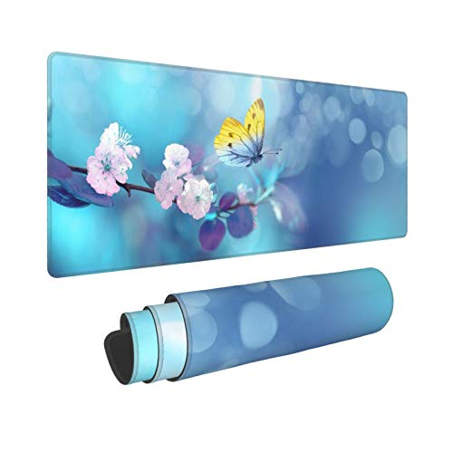 Waldeal Butterfly Floral Extended Gaming Mouse Pad (31.5x11.8 in), Large Non-Slip Rubber Base Mousepad with Stitched Edges, Keyboard Mouse Mat Desk Pad for Work, Game, Office, Home