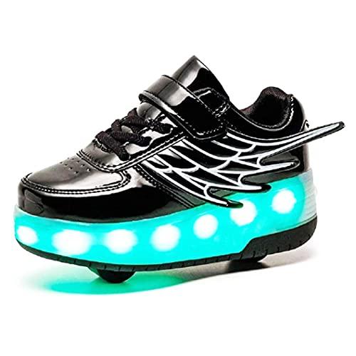 HANHJ Niños Niñas Rodillos Zapatos Shoe para Niños con Ruedas LED Luminoso Skateboread Shoe Cargado USB Ultralight Shoes Deportivos Aire Libre Intermitente Roller Patines,Black01-29