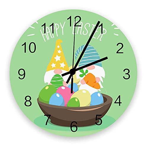 Reloj de pared redondo decorativo Dibujos animados de Pascua Enano lindo con huevos y zanahoria en el cuenco sobre fondo verde Reloj de pared con números arábigos, Relojes de pared de cuarzo de calida