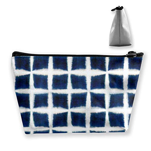 Sac de Voyage cosmétique Multifonctionnel - Shibori Blocks Trapezoid Makeup Organizer Toiletry Wristlet Purse