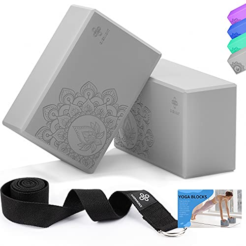 Overmont Yoga Block 2 Pack Supportive Latex-Free EVA Foam Soft Non-Slip Surface for General Fitness Pilates Stretching and Meditation 9'x6'x3' Yoga Strap Included