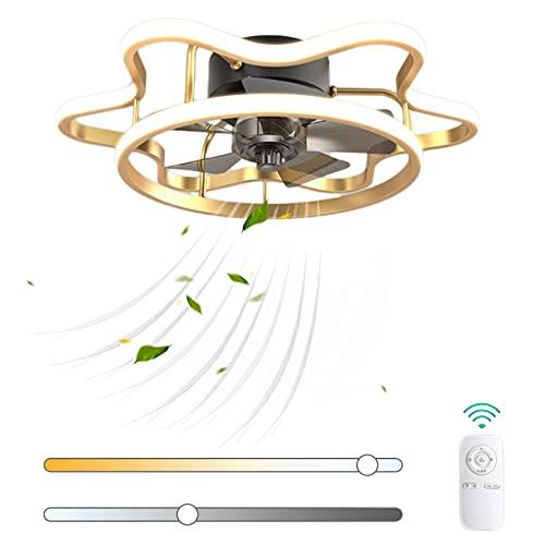 VOMI Mando a Distancia Ventilador de Techo con Luz 58W LED Regulable Silenciar Luz del Ventilador Moderno Ultradelgado Metal Ventilador 3 Velocidades de Viento Ajustables para Cuarto de Los Niños
