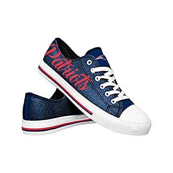 FOCO New England Patriots NFL Womens Color Glitter Canvas Shoes - 9