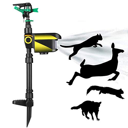 HXML Solarbetriebener automatischer Rasensprenger Tiervertreiber mit Bewegungsmelder für Katzen, Vögel, Eichhörnchen, Anzug für Garten, Hof