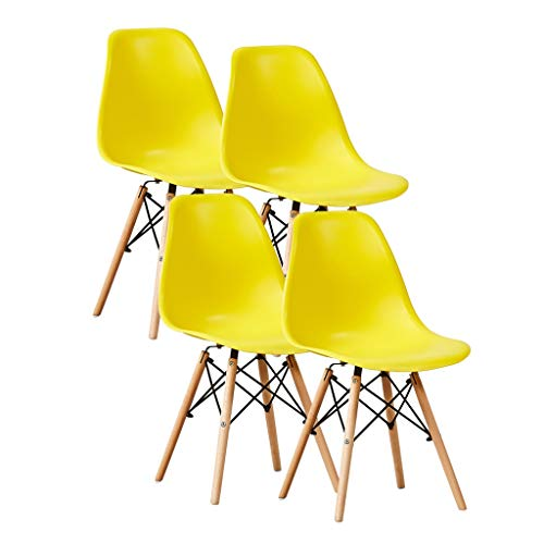 SLY Dineren Chair Retro Kitchen Chair, Creativiteit Home Use Plastic Rugleuning Office Vrije Tijd Woonkamer Bureaustoel (Color : Yellow, Size : 4put)